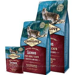 Carnilove Salmon Sensitive and Long-Haired Cats корм с лососем для взрослых кошек с чувствительным пищеварением и длинношерстных кошек, 400г