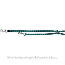 Trixie Cavo Adjustable Leash L-XL круглый поводок-перестежка для собак морская волна-графит 2м х 18мм