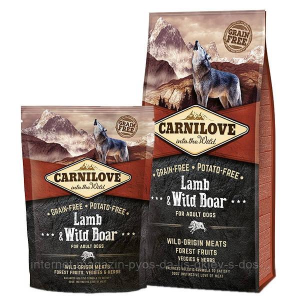 Carnilove Lamb and Wild Boar Adult Dog повнораціонний беззерновой корм з ягням і диким кабаном для дорослих собак всіх порід, 1.5 кг