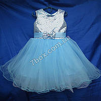 Детское нарядное платье бальное Пайетки-1 (голубое) Возраст 4-5 лет., фото 1