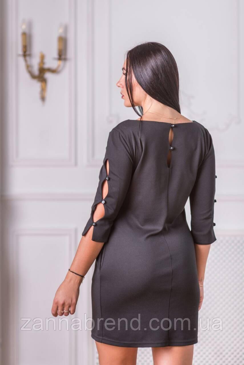 ab7ab613f1e3d65 Вечернее платье женское черное короткое французский трикотаж, цена 550  грн., купить в Харькове — Prom.ua (ID#814352073)