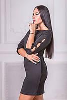 Вечернее платье женское черное короткое французский трикотаж
