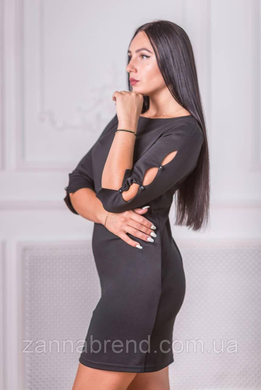 89e77cdd82e Вечернее платье женское черное короткое французский трикотаж - Zanna -  интернет магазин Тканей оптом и в