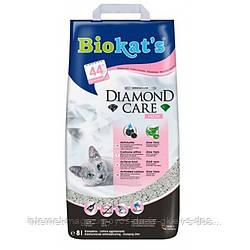 Biokats Diamond Care fresh комкующийся наполнитель для кошачьего туалета с активированным углем, алое вера и ароматом детской присыпки, 8л