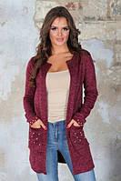 Женский кардиган из ангоры с бусинами на карманах, фото 1