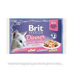 Brit Premium Dinner Plate Jelly набор паучи для кошек Обеденная тарелка в желе 4штх85г, 340г