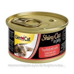 GimCat ShinyCat in Jelly tuna with salom влажный корм для кошек с тунцом и лососем в желе, 70г
