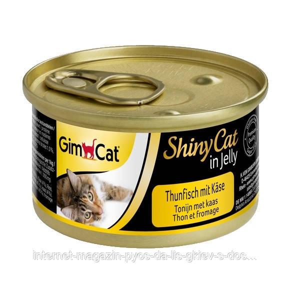 GimCat ShinyCat in Jelly tuna with cheese влажный корм для кошек с тунцом и сыром в желе, 70г