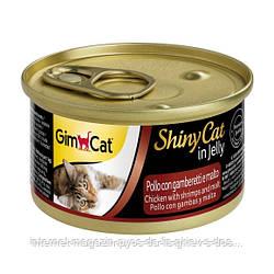GimCat ShinyCat in Jelly Chicken with shrimps and malt влажный корм для кошек с курицей, креветками и солодом в желе, 70г