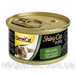 GimCat ShinyCat in Jelly Chicken with Grass влажный корм для кошек с курицей и травой в желе, 70г