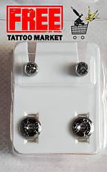 Серьги для прокола (пирсинга) ушей Studex серебро с белым камнем