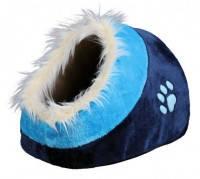 Trixie лежак-пещера Minou с рисунком лапка голубой