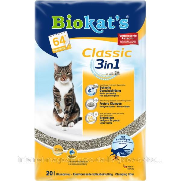 Biokats Classic 3in1 комкующийся наполнитель для кошачьих туалетов с крупными гранулами, 20л