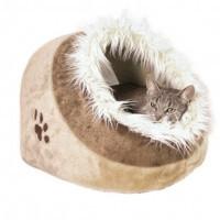 Trixie лежак-пещера Minou с рисунком лапка коричневый, 50см