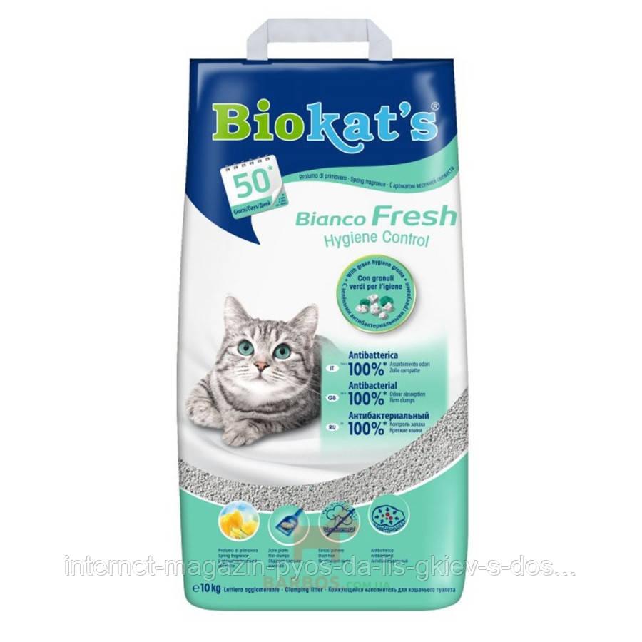 Biokats Bianco Fresh комкующийся белый наполнитель с мелкими гранулами для кошачьего туалета, 5кг
