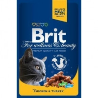 Brit Premium Cat Pouches with Chicken and Turkey паучи для взрослых кошек с кусочками курицы и индейки, 100г