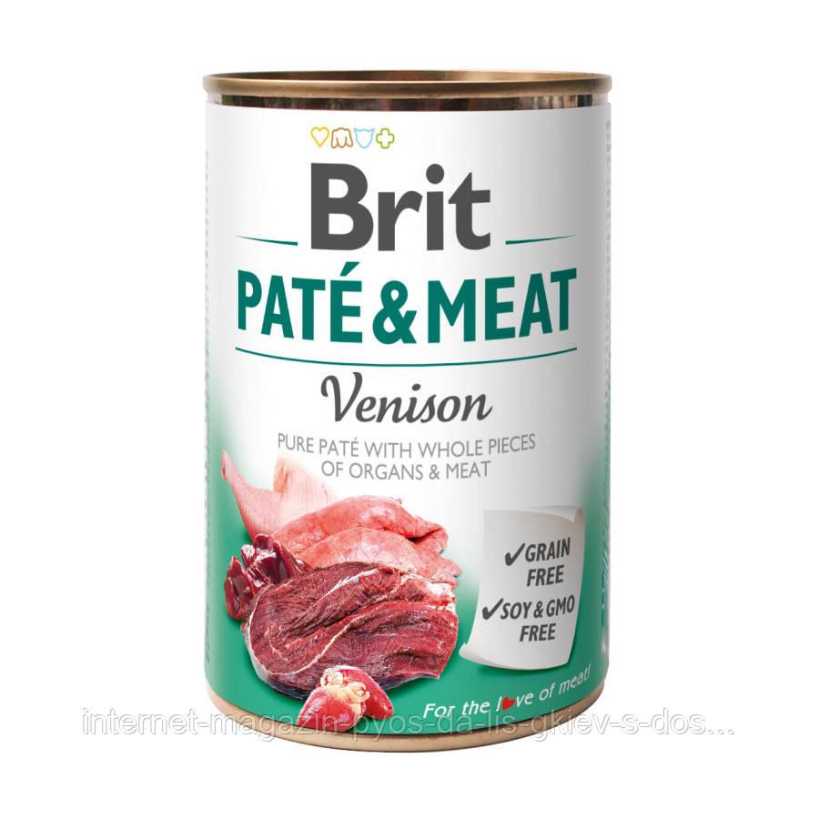 Brit Pate and Meat Venison мясной паштет с кусочками оленины и курицы для собак 400г
