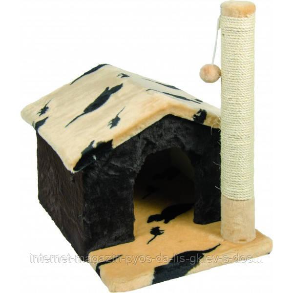 Когтеточка Шале домик с игрушками лежак когтеточка для кошек ТМ Природа 50х38х50см