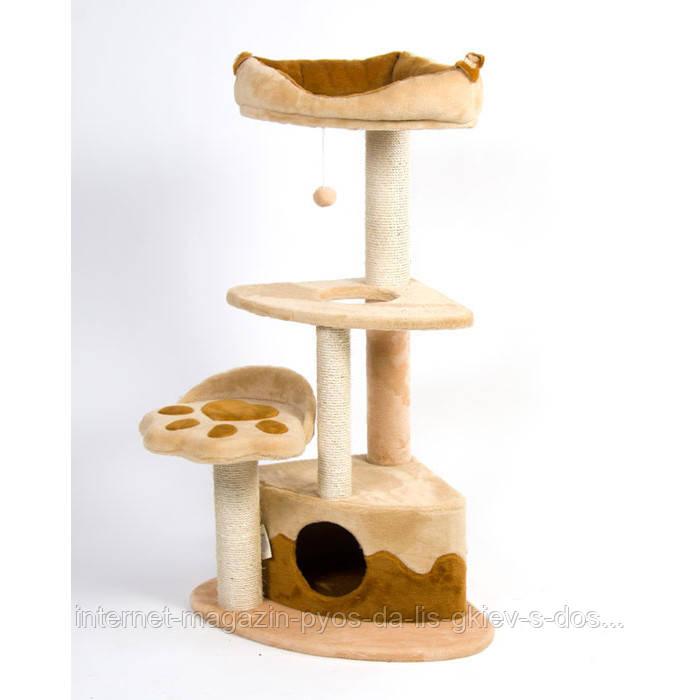 Когтеточка домик Городок угловая для кошек ТМ Природа 56х56х120см