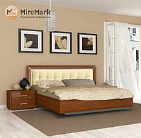 """Ліжко  """"Белла"""" з м'якою спинкою 160*200 від Миро-Марк (ваніль глянець, вишня бюзум)."""