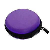 Футляр круглый на молнии для микрофонов, наушников, кабелей, аксессуаров 8 x 3 см, purple.
