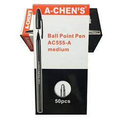 Ручка шариковая с жидкими чернилами  555-A, A-CHEN'S, черная