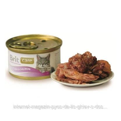 Brit Care Cat TUNA and SALMON консервы для кошек с тунцом и лососем, 80г
