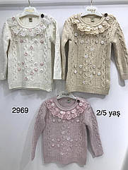 Вязанная кофта на девочку овечьей шерстью 2,3,4,5 лет