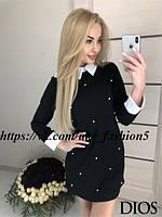 Платье с воротником манжетами и бусинами