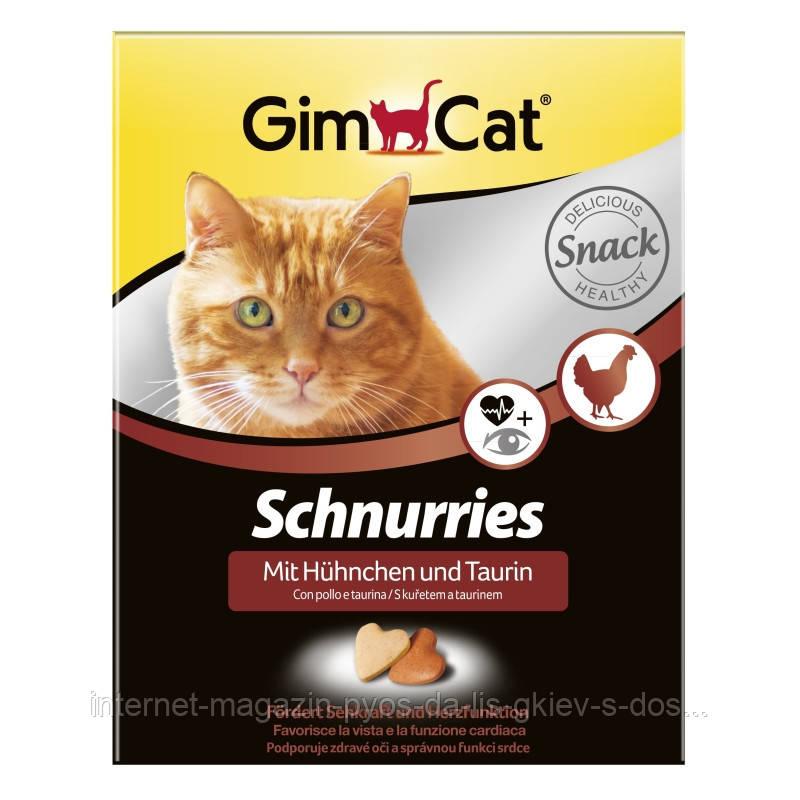 GimCat Schnurries mit und Huhnchen Taurin вітамінні сердечка для кішок з куркою і таурином, 420г