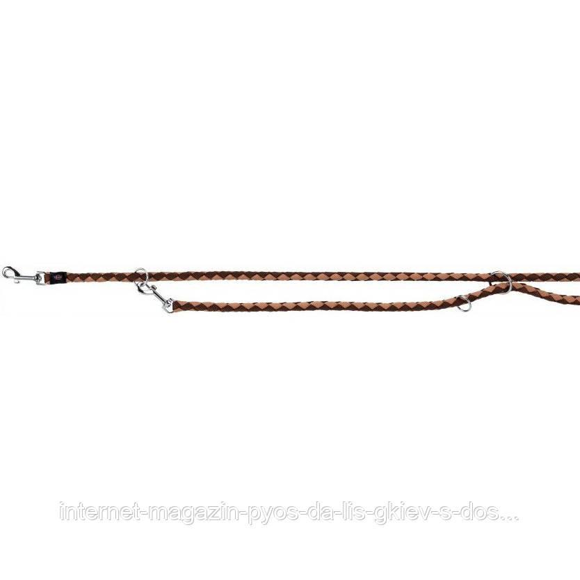 Trixie Cavo Adjustable Leash S-M круглый поводок-перестежка для собак мокка-карамель 2м х 12мм
