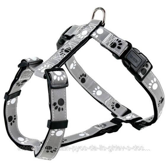 Trixie Silver Reflect H-Harness XS-S шлея светоотражающая 30-40см, 15мм
