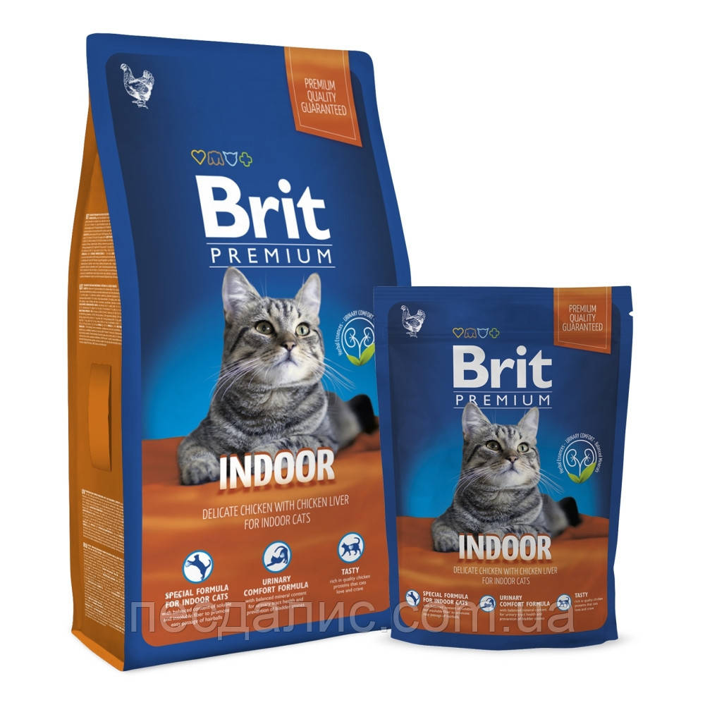 Brit Premium Cat Indoor корм для кошек, живущих дома, 800г