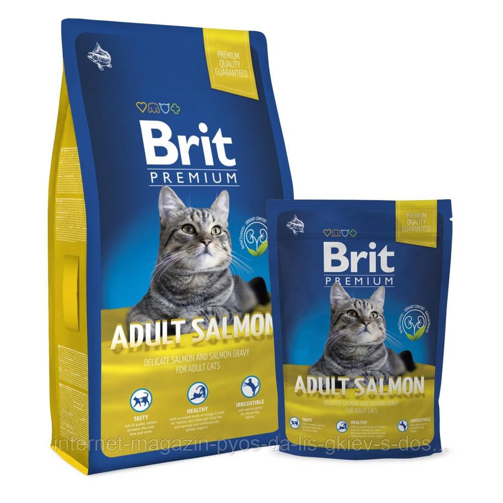 Brit Premium Cat Adult Salmon корм для взрослых кошек с лососем, 800г