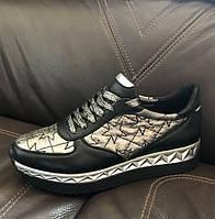Модные женские кроссовки Sofis демисезонные черные с серебром So0102