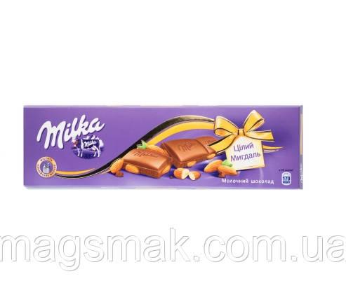 Шоколад Milka з цілим мигдалем, 185м