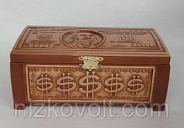 Різьба по дереву - Скринька для грошей 235х155х95 мм