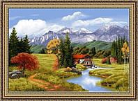 Картина гобеленовая Водяная мельница 60х50см в багетной раме G302