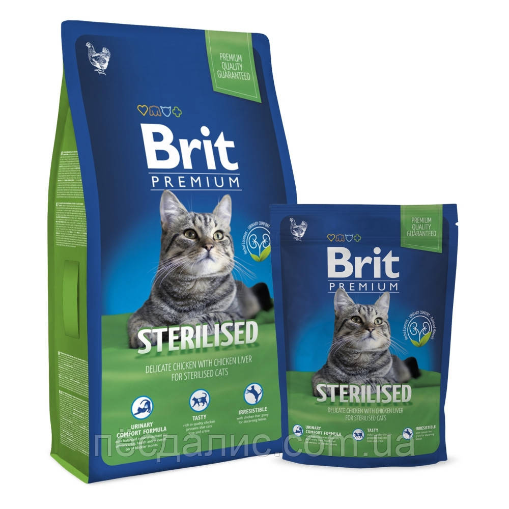 Brit Premium Cat Sterilized корм для стерилізованих кішок з куркою, 8кг
