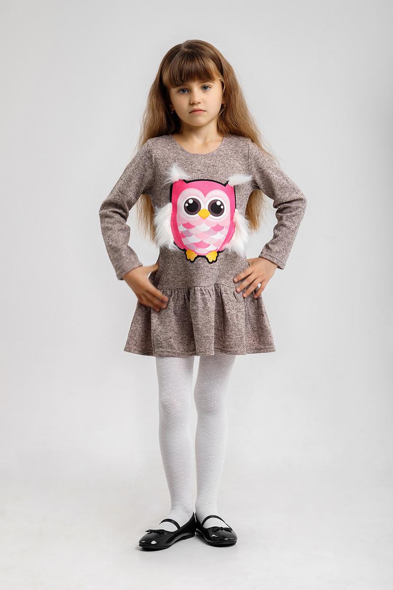 Платье Рюша Сова персик
