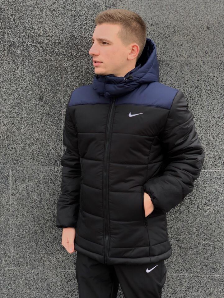 8750436e Мужская зимняя куртка Nike (black/blue), черная мужска куртка найк на зиму