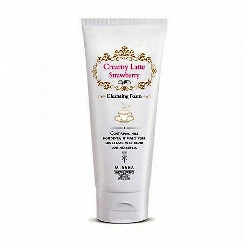 Глубоко очищающая пенка с клубникой для комбинированной кожи MISSHA Creamy Latte Cleansing Foam (Strawberry)