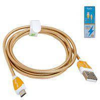 USB дата-кабель KingYou KL-32, USB тип-A, micro-USB тип-B, 110 см, 2,1 A, золотистый