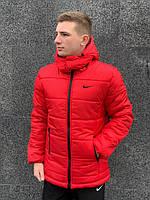 Мужская зимняя куртка Nike (red), красная мужска куртка найк на зиму, (Реплика ААА)