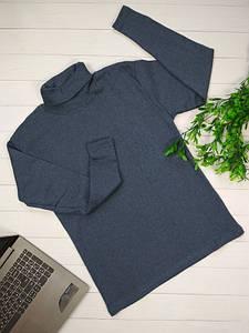 Мужская теплая водолазка на флисе цвета джинс размер XL