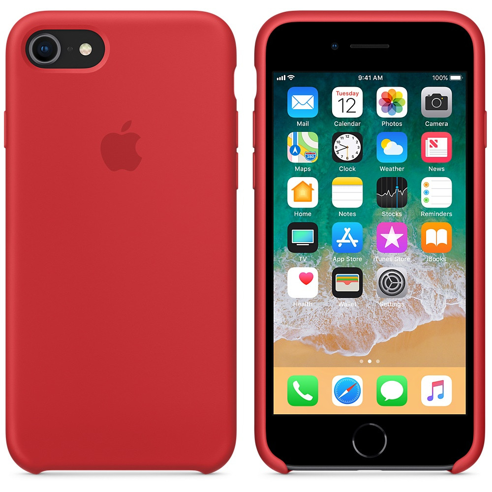Apple Silicon Case for iPhone 7/8 Red