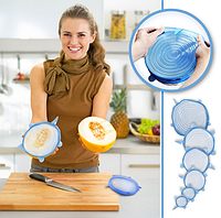 Набор силиконовых крышек Primo для посуды 6 штук - Blue