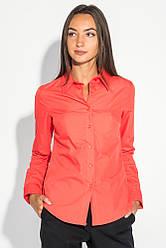 Рубашка женская классического кроя 496F001 (Морковный)