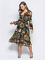48/L Воздушное платье из принтованного креп-шифона с V-образным вырезом горловины