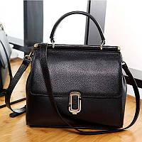 Жіноча сумка з натуральної шкіри чорна середніх розмірів опт